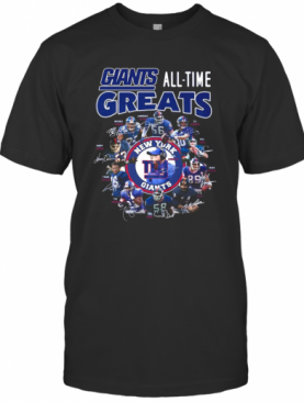 New York Giants Football All Time Greats Players Signatures T-Shirt
