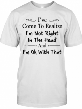 Nice Ive Come To Realize Im Not Right In The Head And Im Ok With That T-Shirt