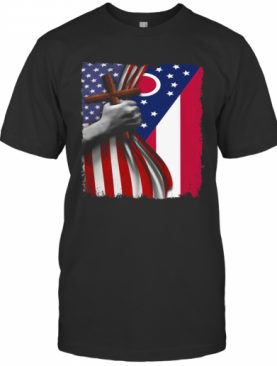 Ohio American Flag Cross Happy Independence Day T-Shirt