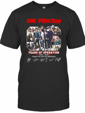 One Direction 06 Years Of Operation 2010 2016 Thank You For The Memories Signatures shirt T-Shirt