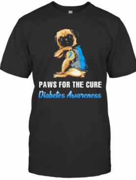 Paws For The Cure Diabetes Awareness Pug T-Shirt
