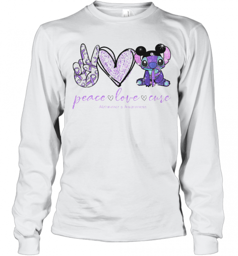 Peace Love Stitch Alzheimer Awareness T-Shirt Long Sleeved T-shirt