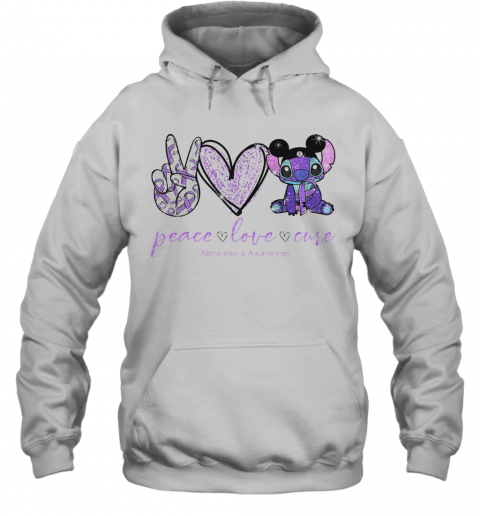 Peace Love Stitch Alzheimer Awareness T-Shirt Unisex Hoodie