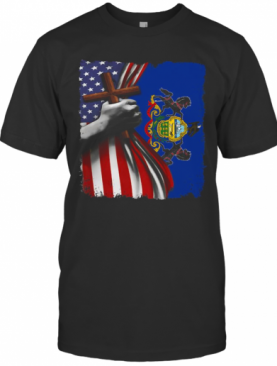 Pennsylvania American Flag Cross Happy Independence Day T-Shirt