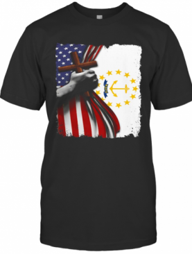 Rhode Island American Flag Cross Happy Independence Day T-Shirt