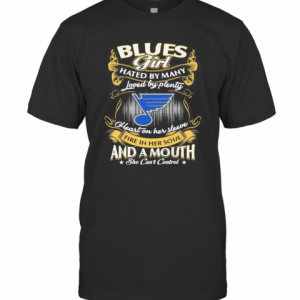 St. Louis Blues Girl Hated By Many Loved By Plenty Heart On Her Sleeve Fire In Her Soul And A Mouth She Can'T Control Stars T-Shirt Classic Men's T-shirt