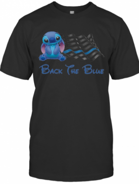 Stitch Flag Back The Blue American Flag Independence Day T-Shirt