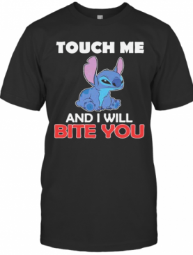 Stitch touch me and i will bite you black shirt T-Shirt