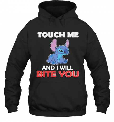 Stitch touch me and i will bite you black  T-Shirt Unisex Hoodie