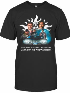 Supernatural Family Don'T End With Blood Carry On My Wayward Son Signatures T-Shirt