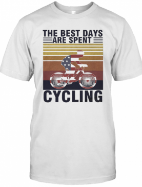 The Best Days Are Spent Cycling American Flag Vintage Retro T-Shirt
