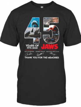 45 Years Of 1975 2020 Jaws Thank You For The Memories Signatures T-Shirt