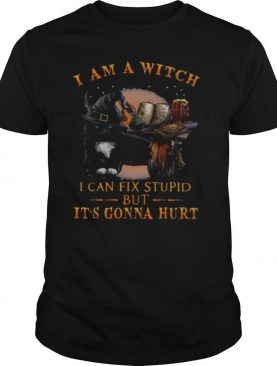 Black Cat I Am A Witch I Can Fix Stupid But Its Gonna Hurt shirt