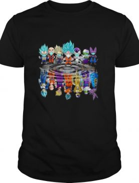 Dragon ball 7 characters mask chibi water reflection shirt