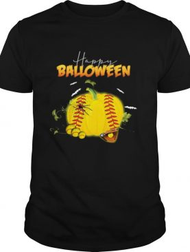 Happy halloween balloween softball pumpkin shirt