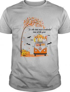 Its The Time Most Wonderful Time Of The Year Peace Bus Corgi Pumpkin Halloween shirt