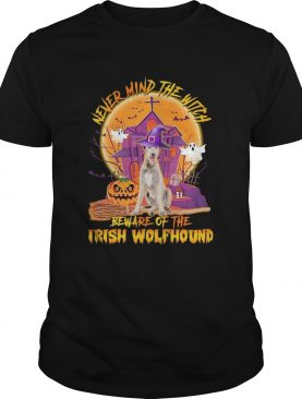 Never Mind The Witch Beware Of The Irish Wolfhound Halloween Moon shirt