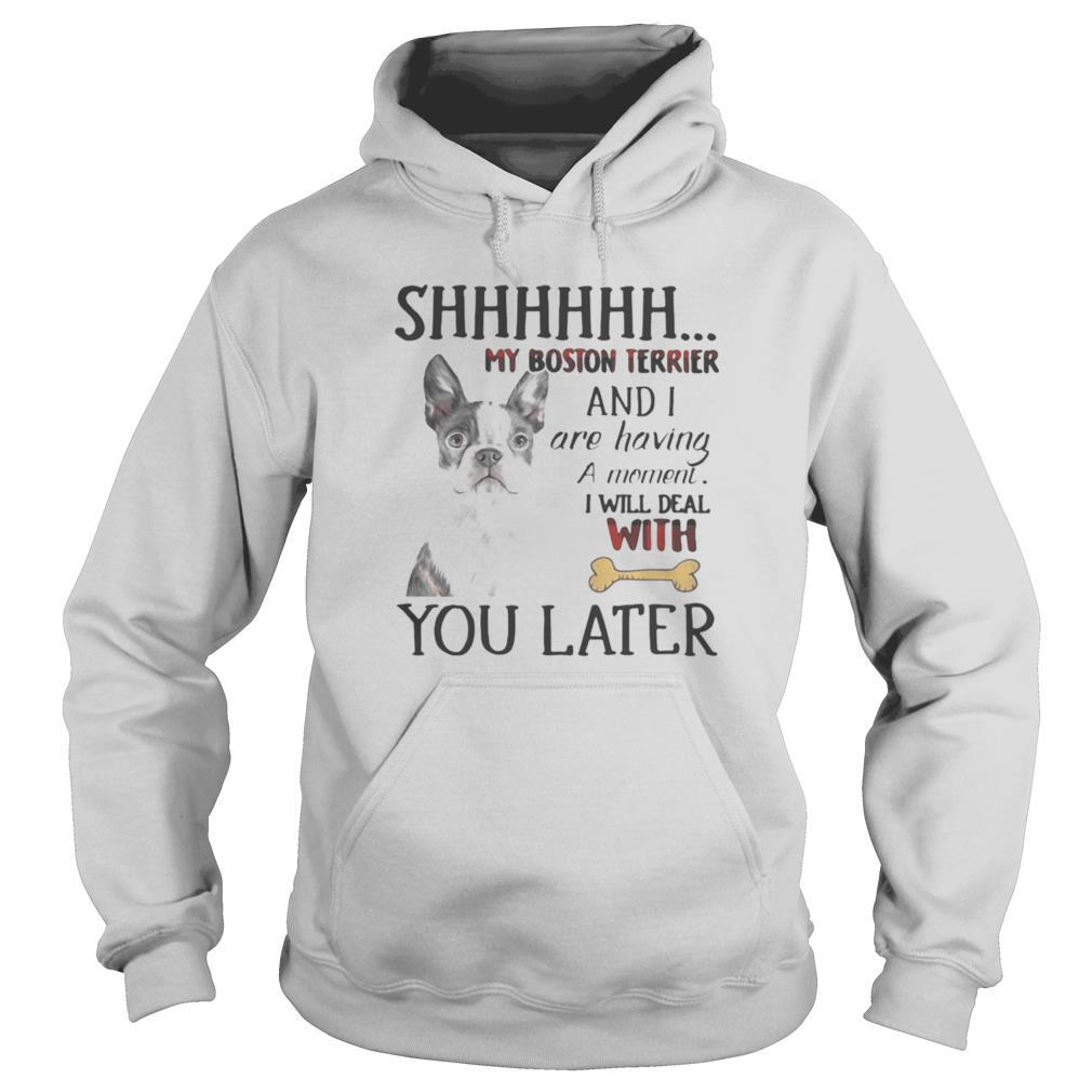 Shhhhhh My Boston Terrier and I are having a moment I will deal with you later shirt