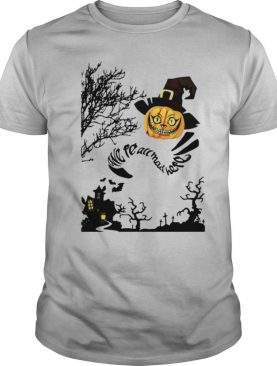 We're All Mad Here Cat Pumpkin Witch Halloween shirt