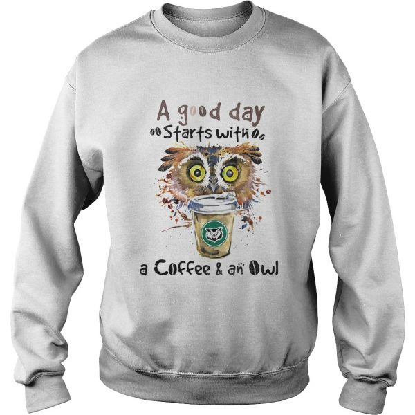 a good starts with a coffee and an owl  Sweatshirt