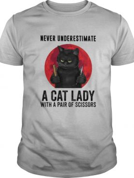 Black Cat Never underestimate a cat lady with a pair of scissors sunset shirt