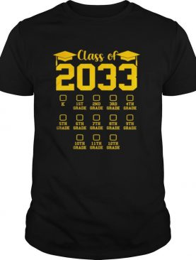 Class of 2033 Grow With Me, With Space For Checkmarks shirt