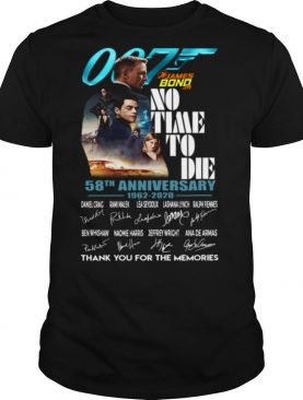 James Bond No Time To Die 58th Anniversary 1962 2020 Thank You For The Memories shirt