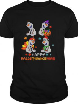 Olaf snowman happy hallothanksmas halloween thanksgiving christmas shirt