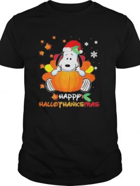Snoopy happy hallothanksmas halloween thanksgiving christmas shirt