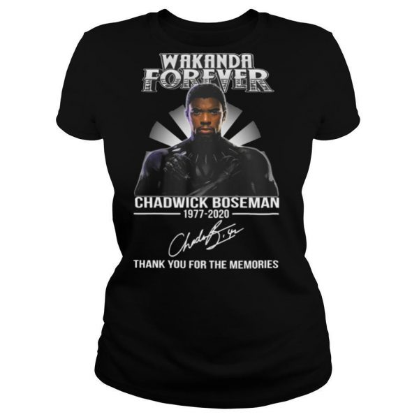 Wakanda forever black panther rip chadwick Boseman rest in peace 1977 2020 thank you for the memories signature light shirt