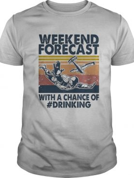 weekend forecast with a chance of drinking man vintage shirt