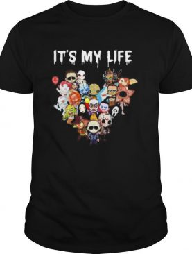 Halloween horror characters it's my life heart shirt
