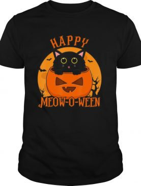 Happy Meow O Ween Blood Moon Halloween shirt