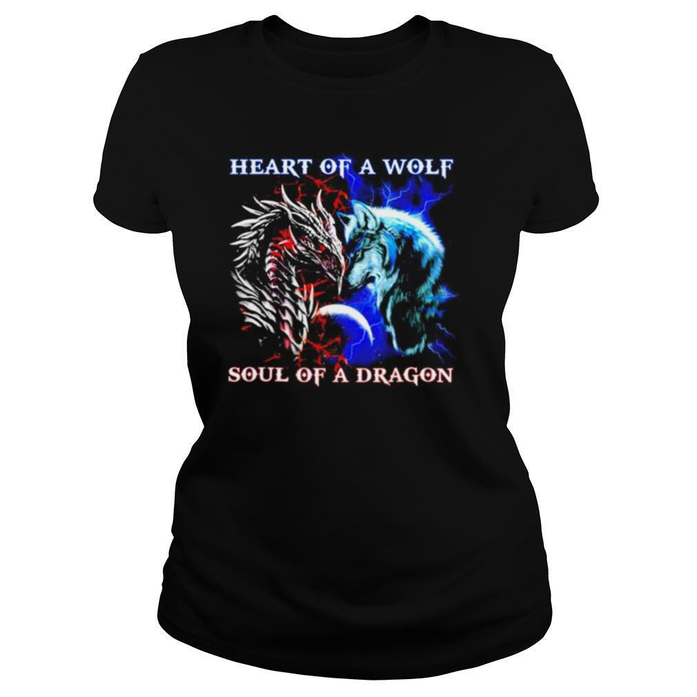 Heart of a wolf soul of a dragon shirt