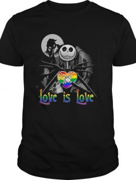 Jack Skellington Hug Heart LGBT Love Is Love Halloween shirt