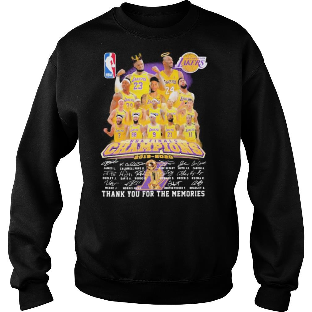 Los angeles lakers nba finals champions 2015 2020 thank for the memories signatures shirt