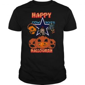 Michael Myers and Freddy Krueger and Jason Voorhees Happy Cow Boys Halloween shirt