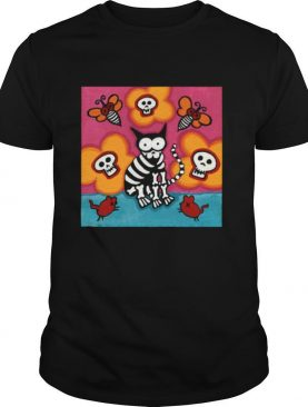 Skelly Cat With Bees Dia De Muertos Day Of Dead shirt