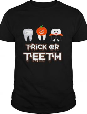 Trick or teeth pumpkin witch halloween shirt