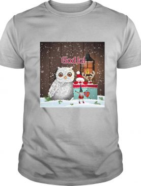 Cute Owl Nisse God Jul Merry Christmas shirt