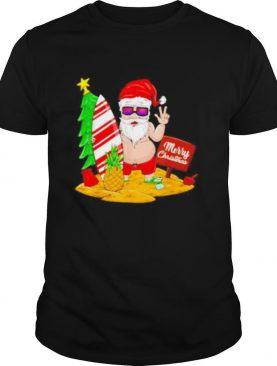 Fat Santa Claus beach Merry Christmas shirt