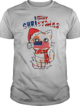 Merry Christmas 2020 Cat Wearing American Flag Face Mask shirt
