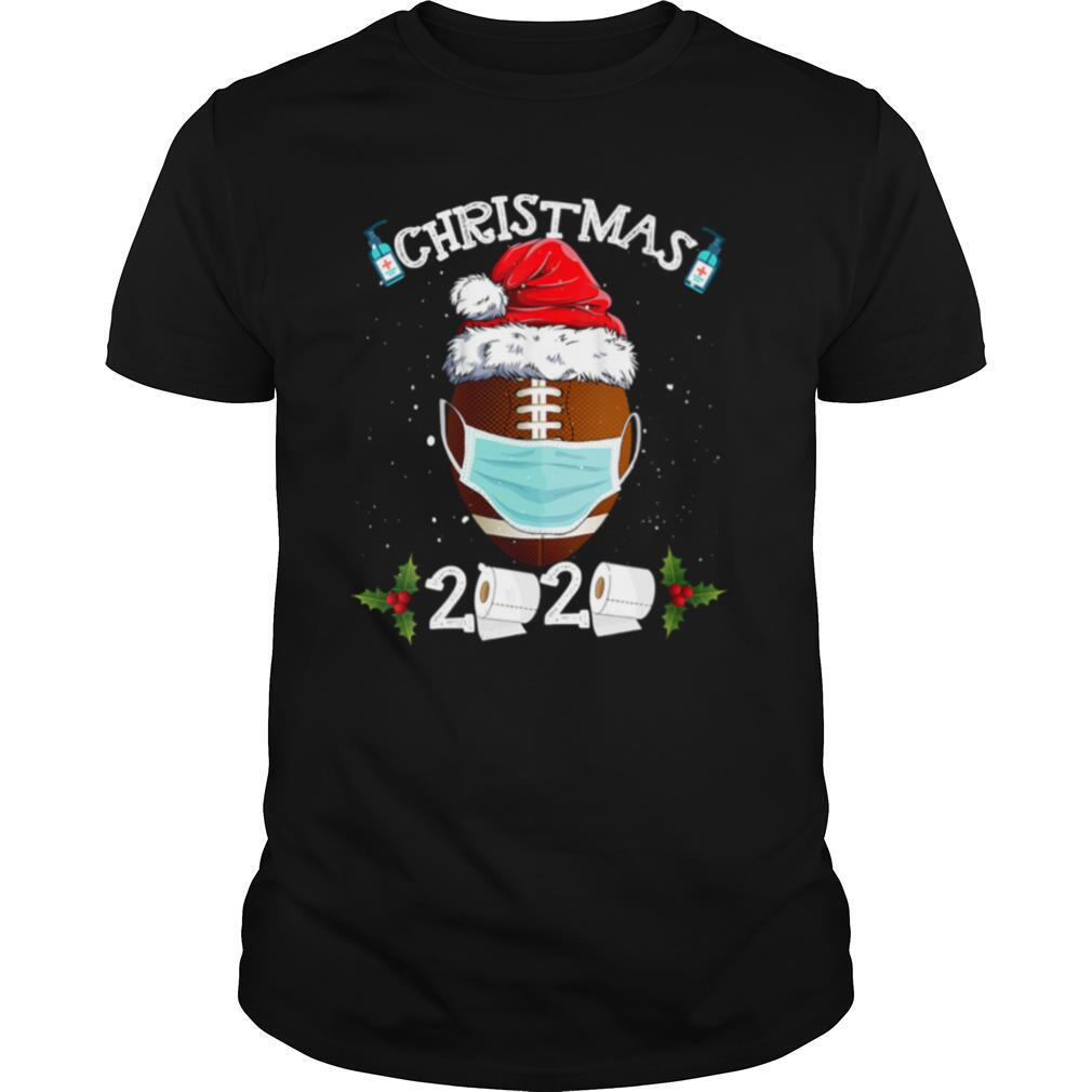 Santa Claus Hat With Face Mask And American Football Merry Christmas shirt0
