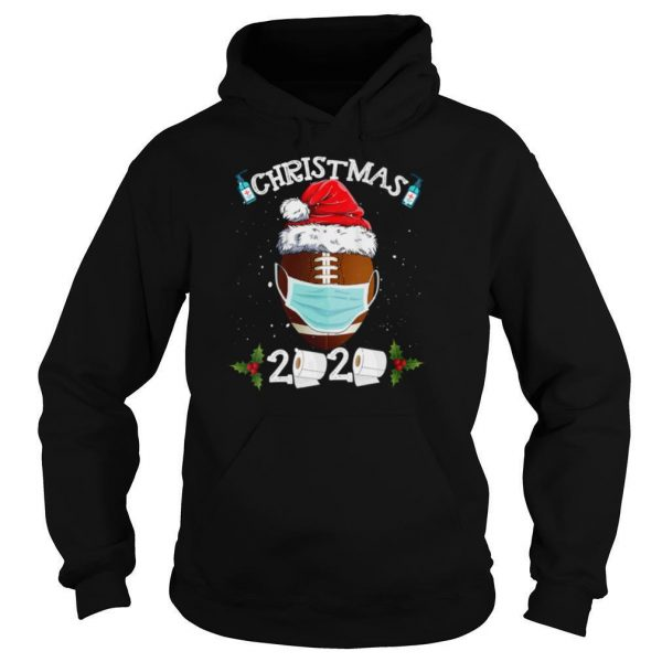 Santa Claus Hat With Face Mask And American Football Merry Christmas shirt
