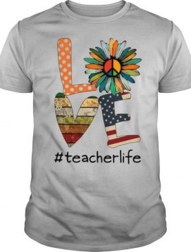 Sunflower And Book And Hippie Love #teacherlife American Flag shirt