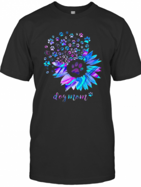 Sunflower And Paw Dog Mom T-Shirt