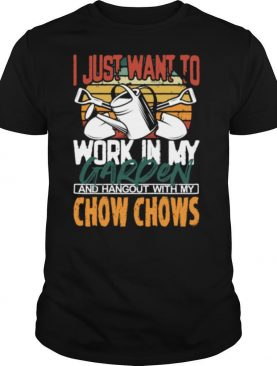 Work in my Garden Hangout with my Chow Chows Vintage Sunset shirt