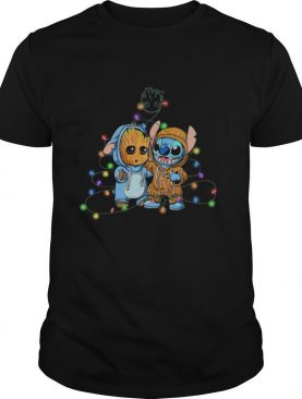 Baby Groot And Baby Stitch Happy Light Christmas shirt