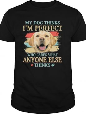 Golden Labrador my dog thinks Im perfect who cares what anyone else thinks shirt