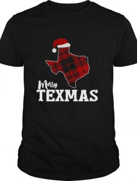 Merry Texmas Texas Xmas State Outline With Santa Hat shirt